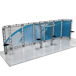 This 10 x 30 custom trade show truss system will help you stand out at the next trade show, drawing attention from across the exhibit floor.  Truss exhibits are one of the most structurally elaborate trade show displays.  They are popular with exhibitors