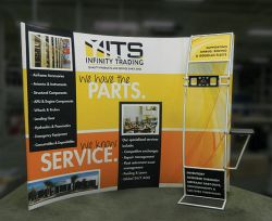 Custom trade show exhibit structures, like design # 0386942 stand out on the convention floor. Draw eyes to your trade show booth with exciting custom exhibits & displays. We can customize any trade show exhibit or display to your specifications.