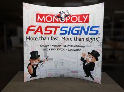 Custom trade show exhibit structures, like design # 0400899 stand out on the convention floor. Draw eyes to your trade show booth with exciting custom exhibits & displays. We can customize any trade show exhibit or display to your specifications.