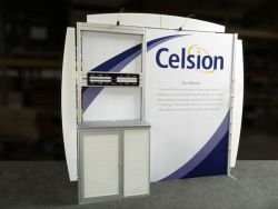 Custom trade show exhibit structures, like design # 0426659 stand out on the convention floor. Draw eyes to your trade show booth with exciting custom exhibits & displays. We can customize any trade show exhibit or display to your specifications.
