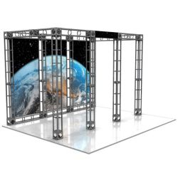 This 10 x 15 custom trade show truss system will help you stand out at the next trade show, drawing attention from across the exhibit floor.  Truss exhibits are one of the most structurally elaborate trade show displays.  They are popular with exhibitors