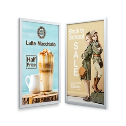 EasyOpen Silver Snap Frame designed to get your marketing message noticed on the trade show or retail floor. These store displays hold 8.5in x 11in custom graphics that are easy to replace & update.