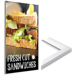 Flair Signware Perimeter Frame designed to get your marketing message noticed on the trade show or retail floor. These store displays hold 11in x 14in custom graphics that are easy to replace & update.