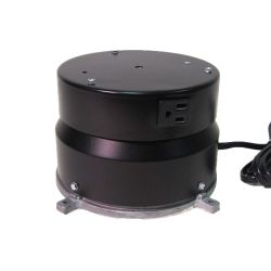 This display turntable ships in one day and is ready to use out of the box.  Comes standard with rotating 4 amp outlet, clockwise rotation at 2 RPM and 100 lb Capacity.  Get your display noticed with motion!