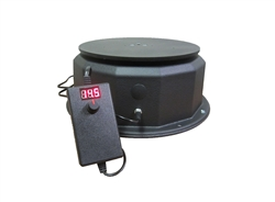This display turntable ships in one day and is ready to use out of the box.  Comes standard with rotating 15 amp outlet, clockwise rotation at 1.3 or 2.6 RPM and 200 lb Capacity.  Get your display noticed with motion!