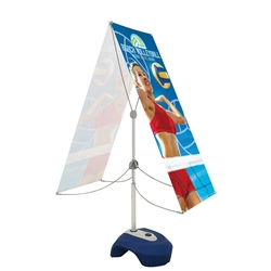 Zephyr outdoor banner stand double sided Graphic Package has stability and looks. It is adjustable in both width and height to allow multiple graphic sizes, and has a large base that can be filled with either water or sand. Price includes stand hardware.