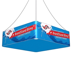 10ft x2ft Square Hanging Double Sided Banner Display. BrandStand Blimp Quad hanging banner frame has four sides to advertise on and is the largest available. This unit is perfect for Convention Centers, Retail Stores, Tradeshows, Malls