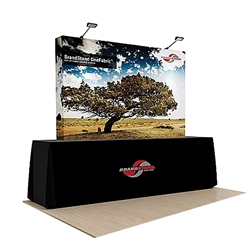 89in x 60in OneFabric Straight Popup Exhibit Kit no End Caps & Black Conversion Counter Skin represent one of the newest innovations in pop-up displays. It combines the easy setup of pop-up displays with the latest technology in digitally printed fabric