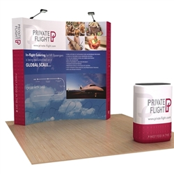 8ft OneFabric Curved Popup Display Kit & Case w/ Printed Fabric Wrap