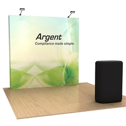 8ft OneFabric Straight Popup Display Kit & Case w/ Black Fabric Wrap