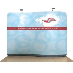 10ft Waveline Serpentine Single Sided trade show display, attention grabbing convention booth, is an all inclusive display that is affordable, easy to set up and looks amazing. Works like a large pillow case, folding over the aluminum tubing.