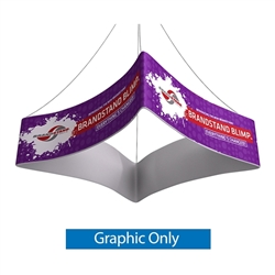 Replacement Single Sided fabric for Blimp Curved Quad 10ft x 24in trade show hanging banner tension fabric display. BrandStand Blimp Curved Quad hanging banner frame has four sides to advertise on and is the largest available. Dye-Sublimated banner print.