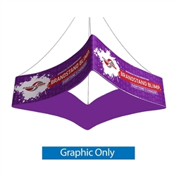 Replacement Double Sided fabric for Blimp Curved Quad 10ft x 24in trade show hanging banner tension fabric display. BrandStand Blimp Curved Quad hanging banner frame has four sides to advertise on and is the largest available. Dye-Sublimated banner print.