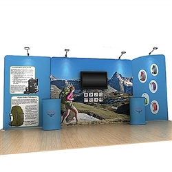 20ft Osprey A Waveline Single-Sided Backwall with TV Mount and Counter Option Molded Case with Graphic, attention grabbing convention booth, is an all inclusive display that is affordable, easy to set up and looks amazing. Works like a large pillow case