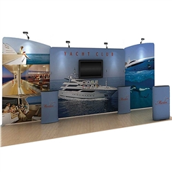 20' Marlin A Waveline Media Single-Sided Backwall with TV Mount and Counter Option Molded Case with Graphic, attention grabbing convention booth, is an all inclusive display that is affordable, easy to set up and looks amazing. Works like a large pillow c
