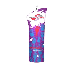 Brandcusi Angled Fabric Double-Sided Banner Stand are perfect for displaying at any event. They are lightweight and roll up into a small carrying case. Brandcusi Angled Fabric Double-Sided Banner Stand has attention grabbing Dye-Sub printed graphic