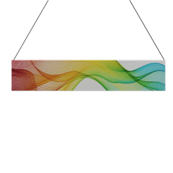 10ft x 2ft Double-Sided Flat Hanging Sign (Graphic & Hardware) is a must have at your next trade show. This ceiling banner is printed on quality fabric. Available shapes hanging sign are round, flat, square, curved square, tapered square and triangle