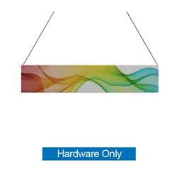 10ft x 2ft  Flat Hanging Sign (Hardware Only) is a must have at your next trade show. This ceiling banner is printed on quality fabric. Available shapes hanging sign are round, flat, square, curved square, tapered square and triangle