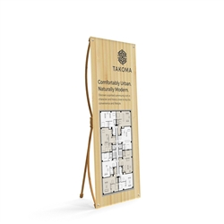 32.5in x 72in X-Stand Display (Graphic & Hardware). This eco-friendly lightweight bamboo banner stand is the ideal advertising display for the cost-conscious consumer. Quick and easy to assemble, rapidly set up in a minute.