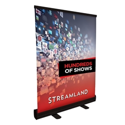 24in Tabletop Economy Retractor No Curl Banner Kit, Black - One of our lightest weight retractors. Retractable table top banners are the perfect marketing solutions for trade show booths. Tradeshow Table Top Banner Stands are portable and easily set up