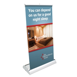 8in x 16in Deluxe Mini Retractor TableTop Banner Stand Kit a tabletop display solution that will not tip over. Tabletop banner stands are highly portable for marketing on the go, also great for counter marketing.