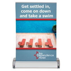 8.25W x 11.75H Small Mini Promo Retractor Table Top Banner Stand Kit. Instantly showcase your marketing message at a trade show, college fair or near a point-of-sale space with a user-friendly retractable table banner.