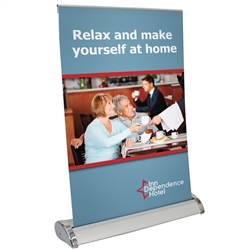 11in x 17in Retractable Table Top Banner Stand. The Large Pro Retractor Table Top Banner Kit offers the ability to show your message on both sides of the display. When not in use the base protects your graphics as you move from place to place.