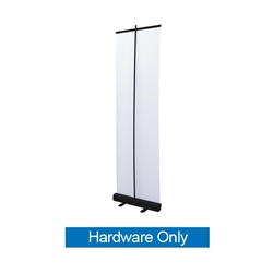 Economy Retractor Bannerstand Hardware Only, Black 24 inches wide the most economical retractor on the market. Its lighter duty mechanism makes it appropriate for temporary displays or for advertising seasonal specials. The most economical retractor.