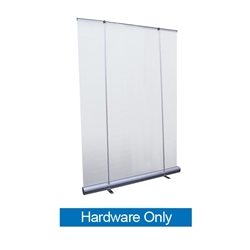 5ft Jumbo Wide Retractable Banner Stand Hardware Only most economical back wall displays for less than the cost of a pop-up. Perfect for branding messages behind speeches and presentations, or makes a great foundation for a trade show booth.