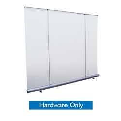 8ft Jumbo Wide Retractable Banner Stand Hardware Only most economical back wall displays for less than the cost of a pop-up. Perfect for branding messages behind speeches and presentations, or makes a great foundation for a trade show booth.