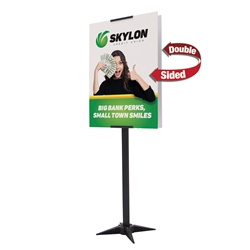 2ft x 5ft Base-X Double-Sided Sign Kit. This signpost's space-saving base folds out to an X shape for a sleek look that draws attention to the signboard.