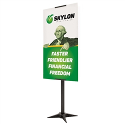 "24"" x 42"" Base-X Single-Sided Sign Kit. This signpost's space-saving base folds out to an X shape for a sleek look that draws attention to the signboard."