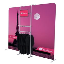 2ft x 7ft EuroFit Cascade Three-Shelf Merchandiser Kit.  This Merchandiser kit adds a monitor, a shelf and an apparel rack to a EuroFit Wall.
