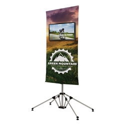 4ft x 7ft Quad Pod Monitor Stand Kit. This innovative monitor stand combines stability with style. A large fabric banner behind the monitor gives you ample space for branding or messaging.
