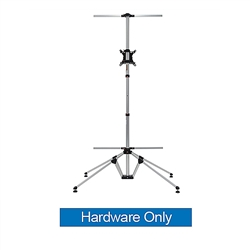 4ft x 7ft Quad Pod Monitor Stand Hardware Only. This innovative monitor stand combines stability with style. A large fabric banner behind the monitor gives you ample space for branding or messaging.