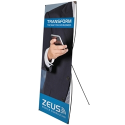 31.5in x 70in Tri-X1 Banner Display Kit with Banner allows your customers to quickly set up their graphics. Budget Spring-Back Banner Stand allows for an upscale wood look for a lower cost.  Simply unfold the Tri-X display and attach a grommeted graphic..