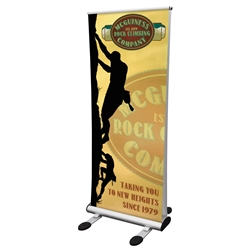 33.25in w Four Season Trek Retractor Outdoor Banner Stand Kit outdoor advertising solution that is durable and easy to set-up. This heavy duty display includes detachable feet that when locked into the base provides a strong and stable footprint.