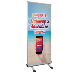 Four Season Trek Lite Retractor Outdoor Banner Stand Kit. Outdoor advertising solution that is durable and easy set-up. This heavy duty display includes detachable feet that when locked into base provides a strong and stable footprint