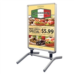 Replacement Graphic for Four Season Flex Outdoor Sign with Ballast Base  . The handle and wheels make it super easy to move so it is the perfect choice when your signage must be brought indoors overnight.
