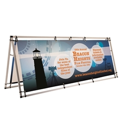 Customized 8ft Horizontal A-Frame Display Kit is decorated with your logo for branding at your next trade show event. 8ft Horizontal A-Frame Outdoor Display Kit Dramatically increase the impact and visibility of your marketing message and stand out