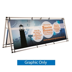 8ft Horizontal Outdoor A-Frame Replacement Banner is decorated with your logo for branding at your next trade show event. 8ft Horizontal A-Frame Outdoor Display Kit Dramatically increase the impact and visibility of your marketing message and stand out