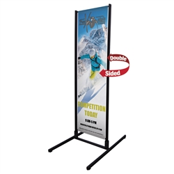 Four Season Dual Track Outdoor Banner Display, with over 7ft of graphics, you are sure to grab the attention of people walking by. Double outdoor banner displays creates a huge outdoor banner display. Order Outdoor Banner Stands Online