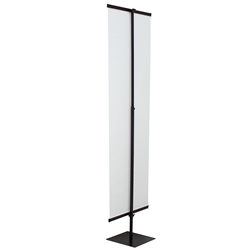 Heavy-Duty Everyday Banner Display Hardware Only, Black  is designed to accommodate both banners and rigid substrate signs. It adjusts with thumbscrews and is easy to assemble with snap together parts. Use just one side or put two signs