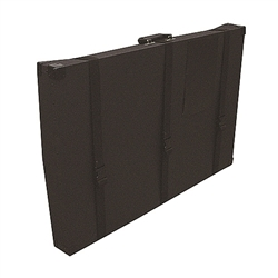 37 in (W) x 25 in (H) x 4 in (L) Rotomolded Tabletop Hard Panel Carry Case is designed for trade show use and features easy grip handles for smooth transport. Ideal for national and international freight shipments.