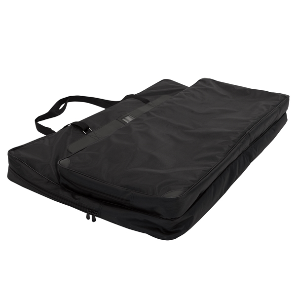 26 in (W) x 19 in (H) x 3 in (L) Soft Carry Case. A soft-sided carrying case designed specifically to securely house the components of the Tabletop Displays and Panel Displays. Made from PVC lined polyester with carrying straps.