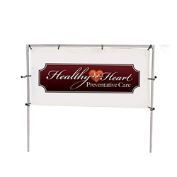 Get your outdoor message noticed! For maximum impact and visibility, In-Ground Single Banner Frames 5ft h x 10ft w are an excellent way to display banners. All pieces of the lightweight all-steel frame snap together for easy assembly.