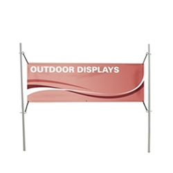 6ft W x 3ftH - 4ft H In-Ground Banner Post Hardware Only a quick and easy solution for installing in-ground banners. The fiberglass-composit posts are 75 percent lighter and 5 times stronger than steel. Just drive the posts into the ground.