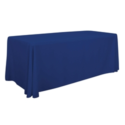 6ft Economy Polyester Twill Table Throw sit comfortably behind your table with this open back design. Custom table throws and logo table runners will give your booth a tidy appearance that will draw in attendees