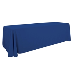 8ft Economy Polyester Twill Table Throw sit comfortably behind your table with this open back design. Custom table throws and logo table runners will give your booth a tidy appearance that will draw in attendees