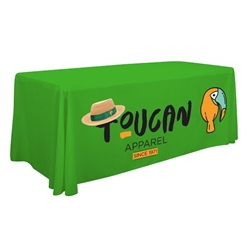 8ft Economy Table Throw Full-Color Thermal Imprint. Stylish and elegant, Creative Banners table throws professionally present your company image at events and trade shows. These premium quality polyester twill table throws are easy to care